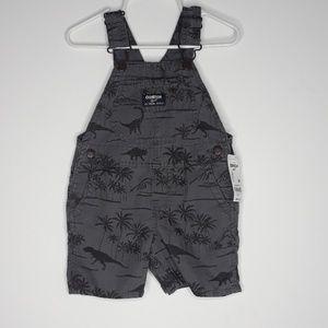 Oshkosh baby boy gray dinosaur overalls 24 months